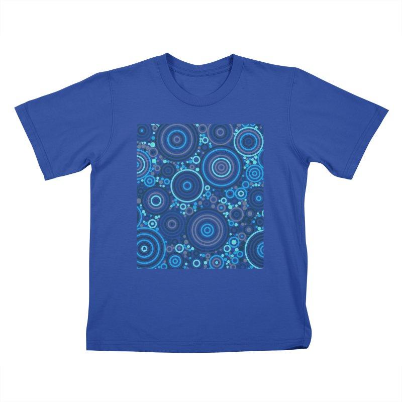 Concentric concentrate (blues) Kids T-Shirt by Robot Molecule