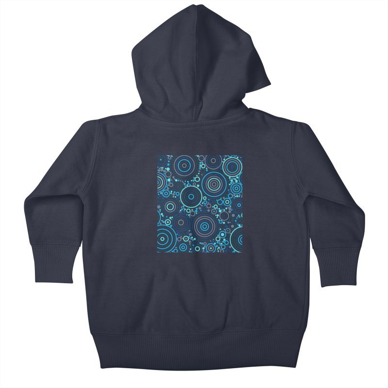 Concentric concentrate (blues) Kids Baby Zip-Up Hoody by Robot Molecule