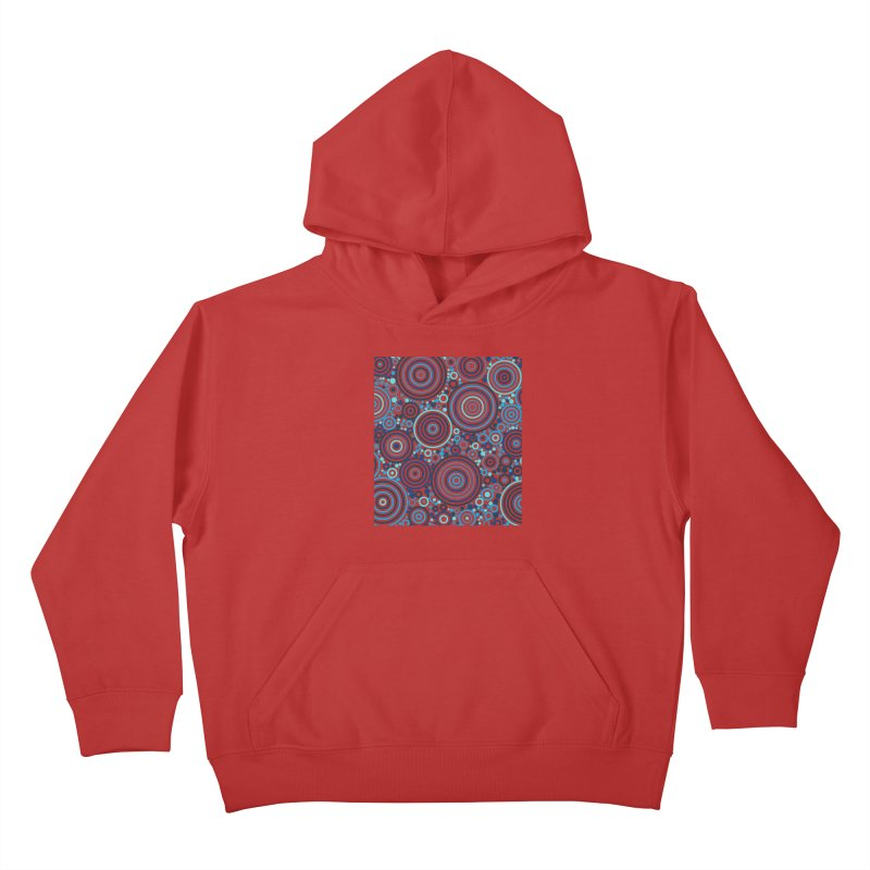 Concentric concentrate (blues) Kids Pullover Hoody by Robot Molecule