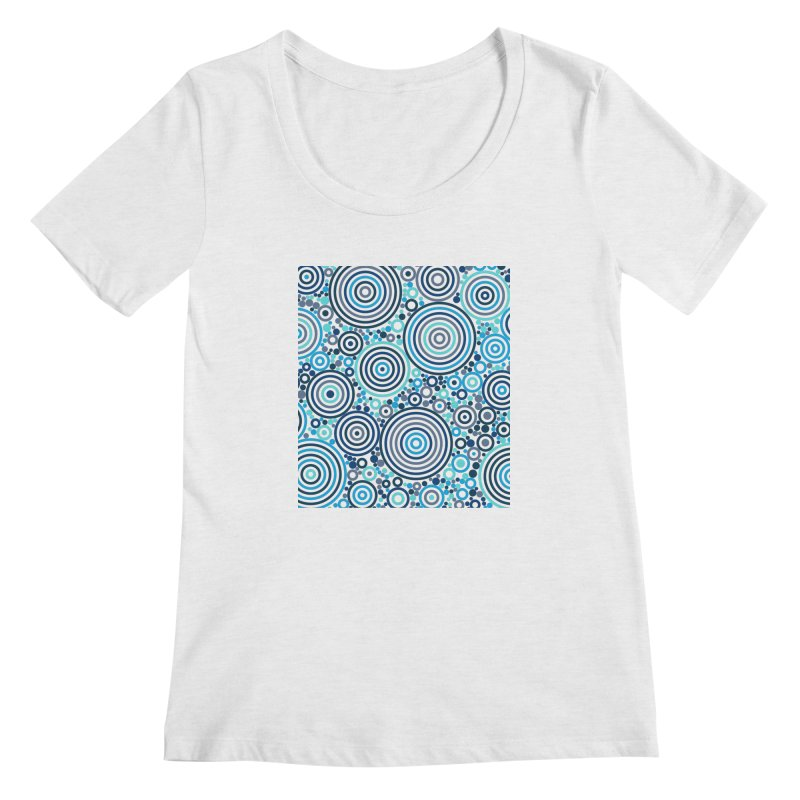 Concentric concentrate (blues) Women's Regular Scoop Neck by Robot Molecule