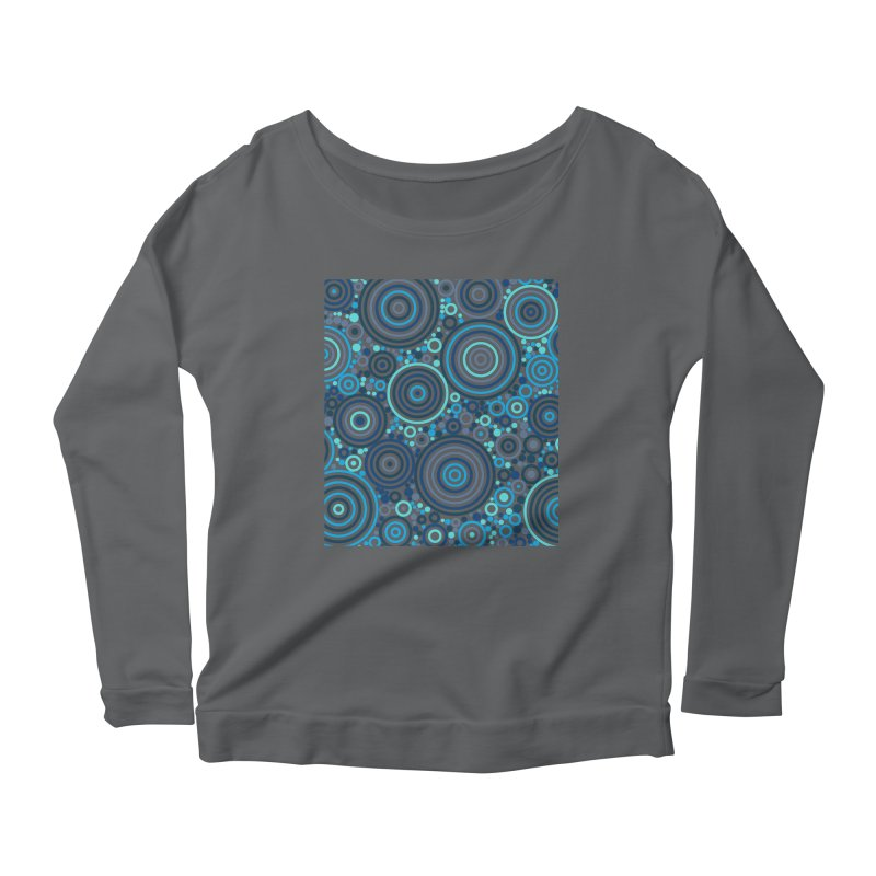 Concentric concentrate (blues) Women's Scoop Neck Longsleeve T-Shirt by Robot Molecule