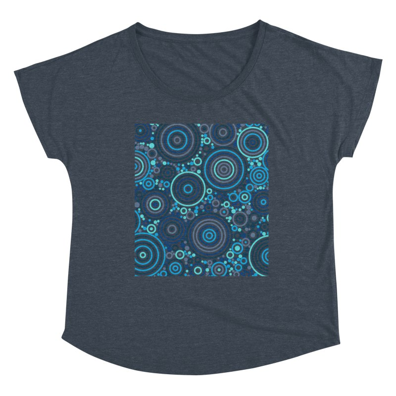Concentric concentrate (blues) Women's Dolman Scoop Neck by Robot Molecule