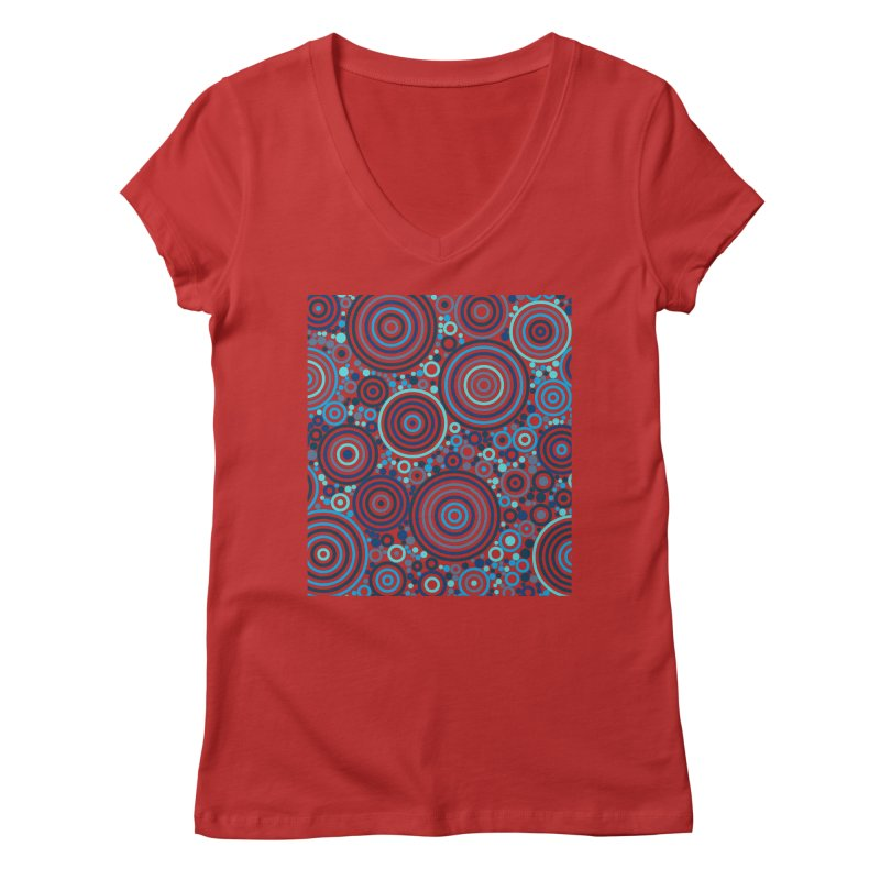Concentric concentrate (blues) Women's Regular V-Neck by Robot Molecule