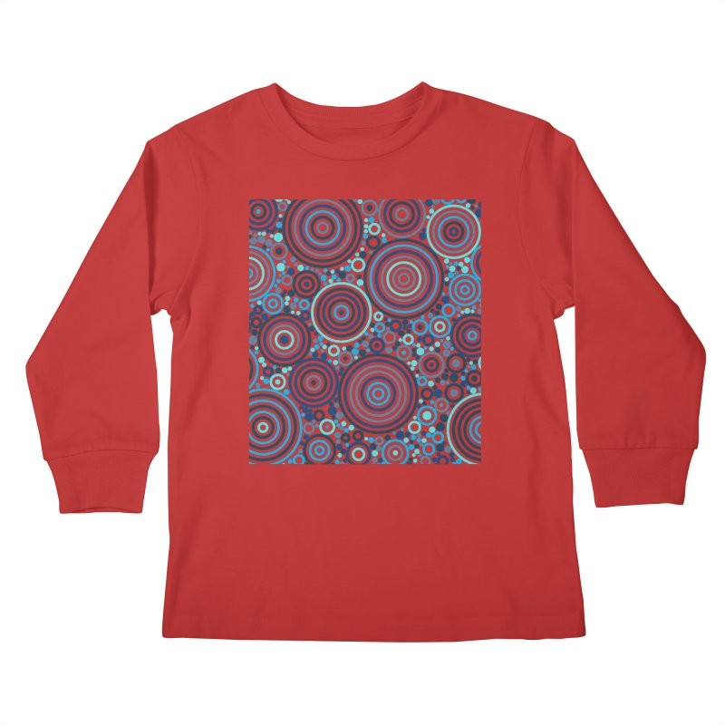 Concentric concentrate (blues) Kids Longsleeve T-Shirt by Robot Molecule