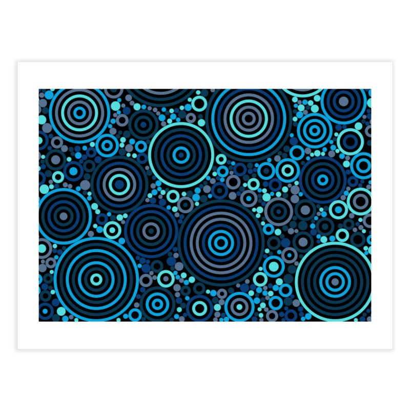 Concentric concentrate (blues) Home Fine Art Print by Robot Molecule