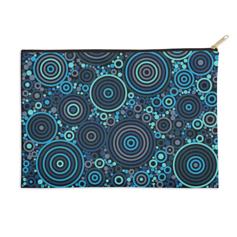 Concentric concentrate (blues) Accessories Zip Pouch by Robot Molecule
