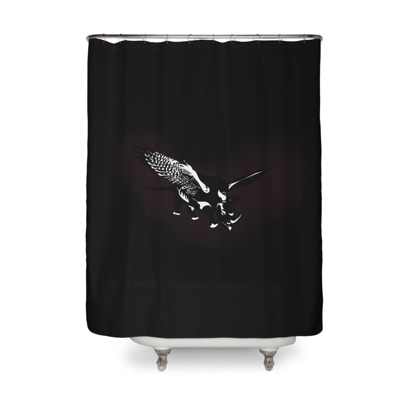 The Rhinofalcon Takes Flight in Shower Curtain by The ROBOTORO Shop