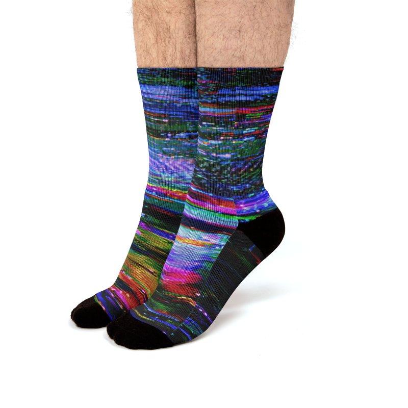 VHS Glitch 001: Azimuth Men's Socks by Glitch Goods by Rob Sheridan