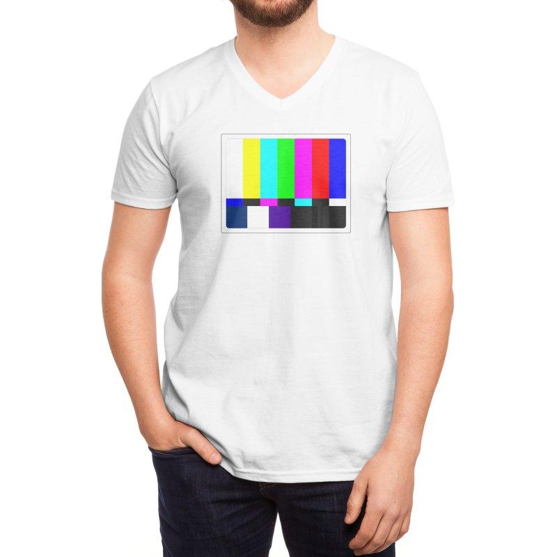 SMPTE TV Color Bars Test Pattern Men's V-Neck by Glitch Goods by Rob Sheridan