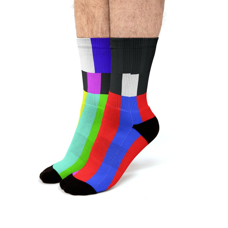 SMPTE TV Color Bars Test Pattern Men's Socks by Glitch Goods by Rob Sheridan