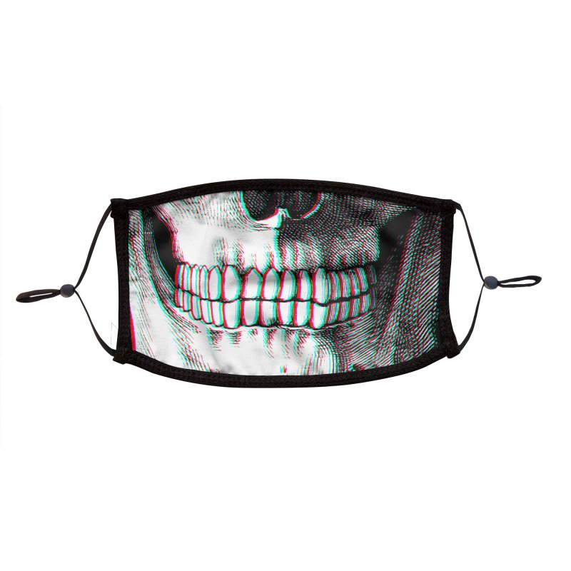 Smiling Skull (RGB Offset) (adult sizes) Accessories Face Mask by Glitch Goods by Rob Sheridan
