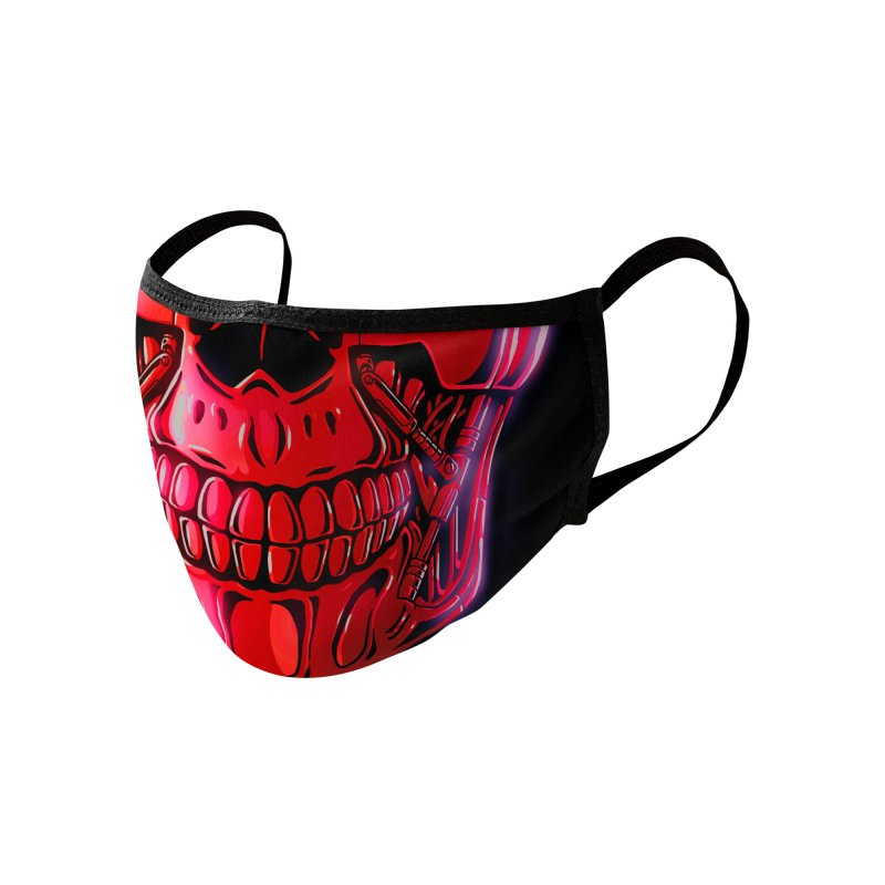 Cyber Skull (red) Accessories Face Mask by Glitch Goods by Rob Sheridan