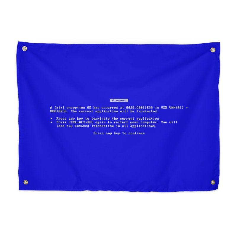 The BSOD Home Decor Tapestry by Glitch Goods by Rob Sheridan