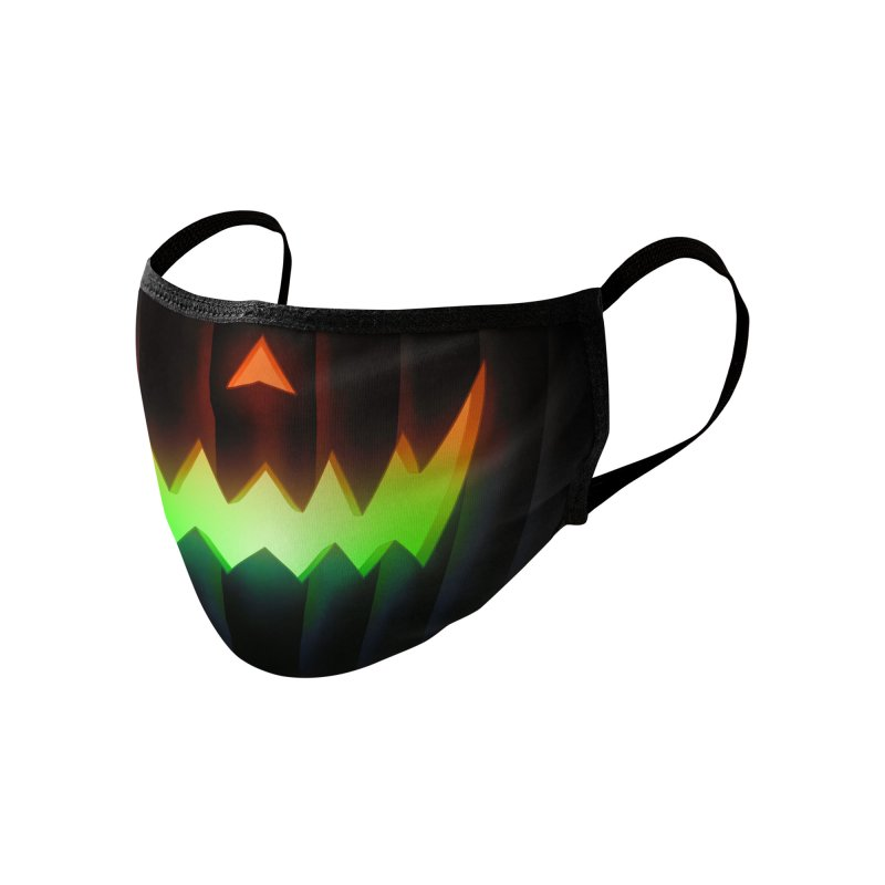 Jack-O-Lantern (Neon Halloween) Accessories Face Mask by Glitch Goods by Rob Sheridan