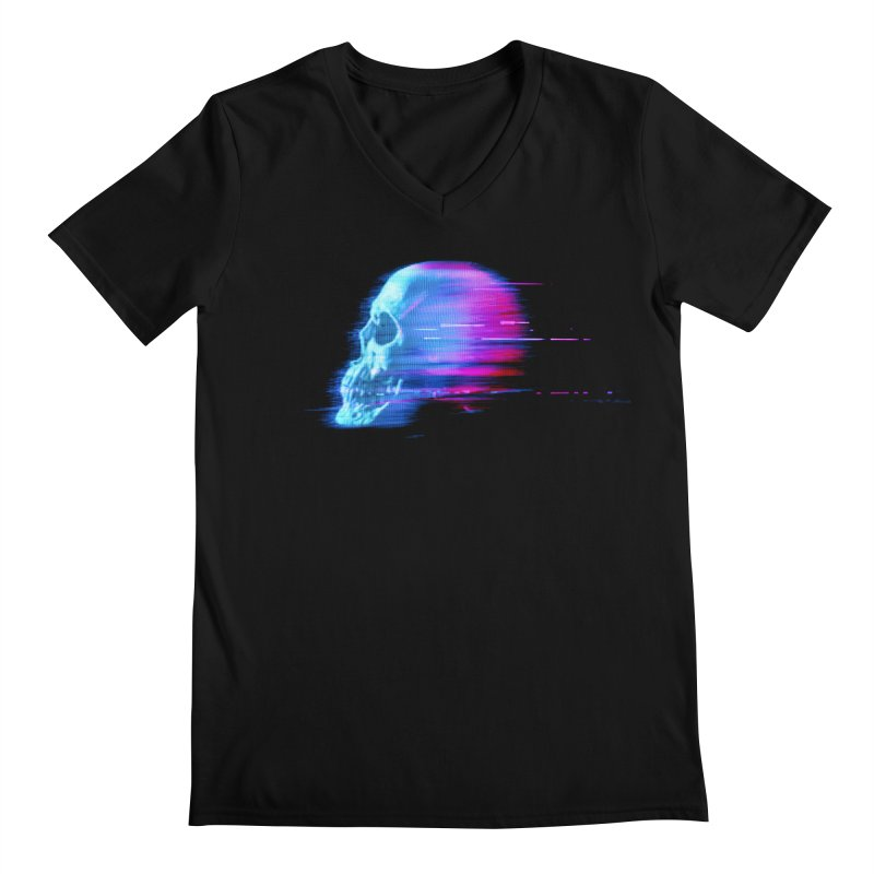 Glitch Skull (Vaporwave) Men's V-Neck by Glitch Goods by Rob Sheridan