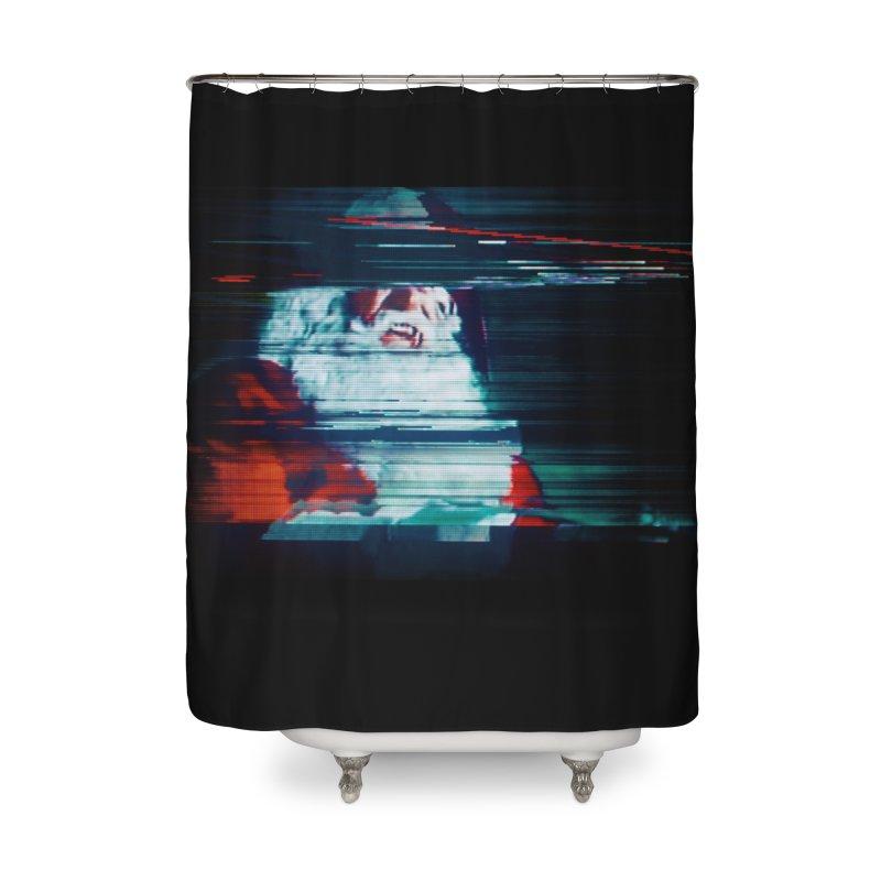 Santa Glitch Home Decor Shower Curtain by Glitch Goods by Rob Sheridan