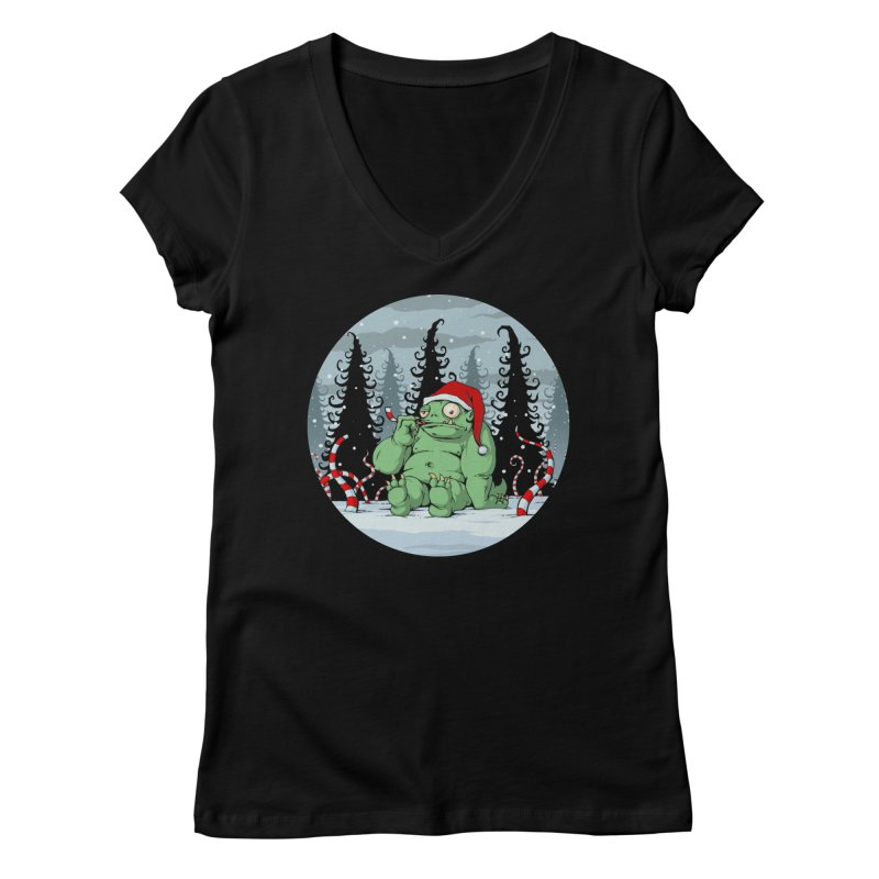 Candy Cane Goblin Women's V-Neck by Glitch Goods by Rob Sheridan