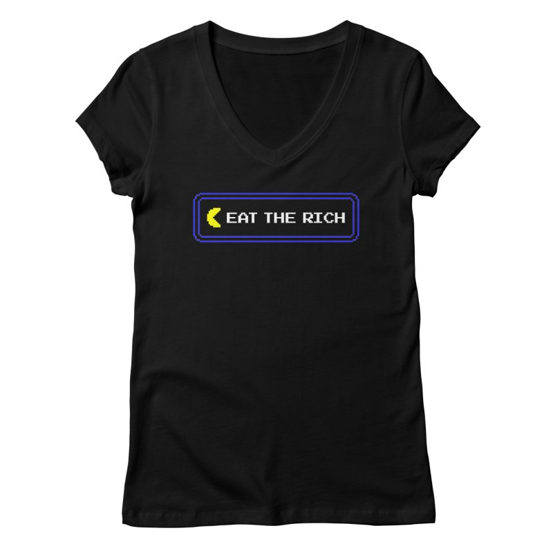 Let Them Eat Power Pellets Women's V-Neck by Glitch Goods by Rob Sheridan