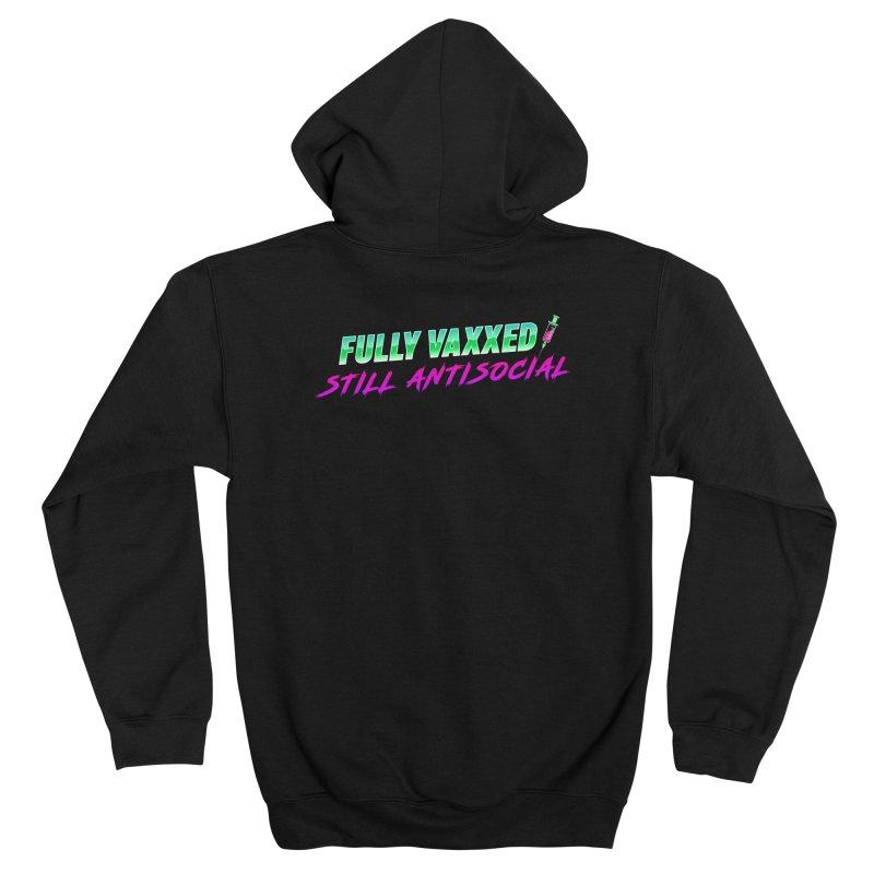 Fully Vaxxed, Still Antisocial Men's Zip-Up Hoody by Glitch Goods by Rob Sheridan