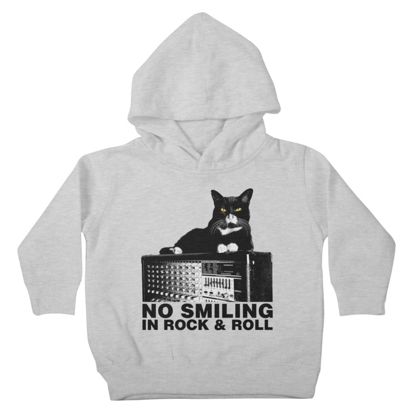 NO SMILING IN ROCK & ROLL Kids Toddler Pullover Hoody by Glitch Goods by Rob Sheridan