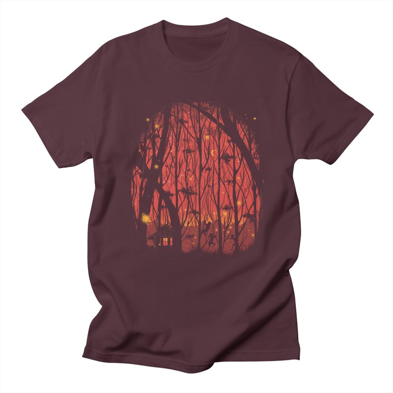 Fireflies in Men's T-shirt Maroon by Robson Borges