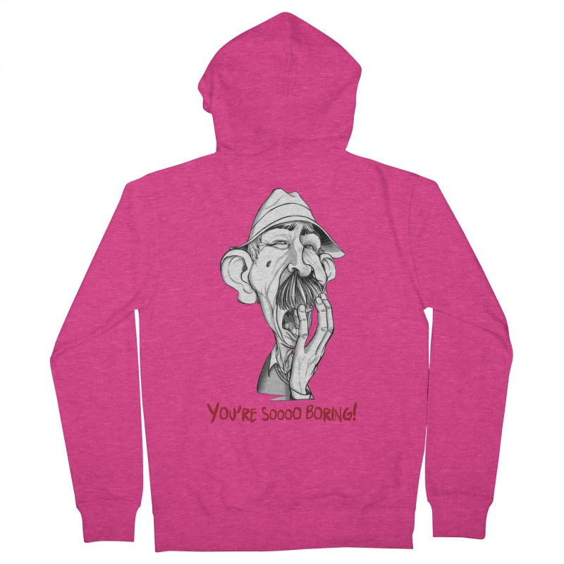 Bored Man Women's French Terry Zip-Up Hoody by roby's Artist Shop