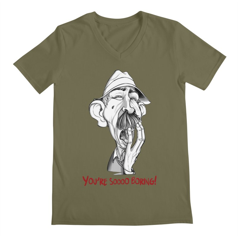 Bored Man Men's V-Neck by roby's Artist Shop