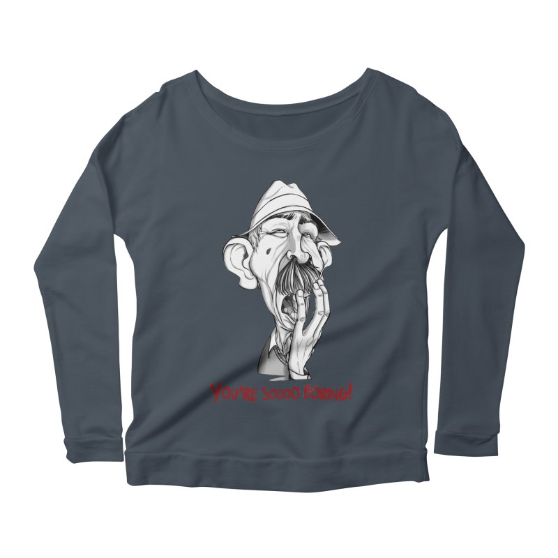 Bored Man Women's Scoop Neck Longsleeve T-Shirt by roby's Artist Shop