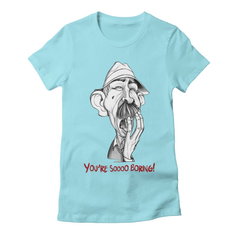 Bored Man Women's Fitted T-Shirt by roby's Artist Shop