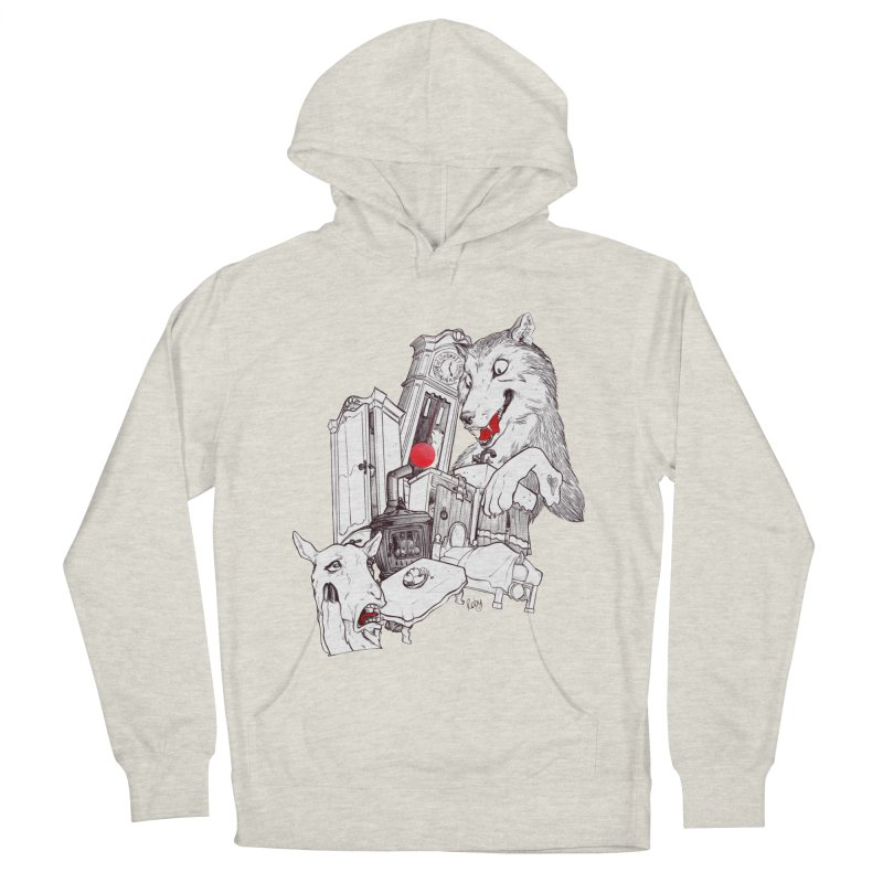 Wolf&7LittleGoats Men's French Terry Pullover Hoody by roby's Artist Shop
