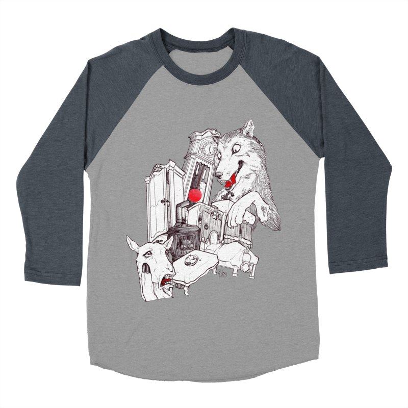 Wolf&7LittleGoats Men's Baseball Triblend T-Shirt by roby's Artist Shop
