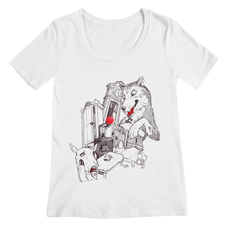 Wolf&7LittleGoats Women's Regular Scoop Neck by roby's Artist Shop