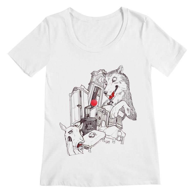 Wolf&7LittleGoats Women's Scoopneck by roby's Artist Shop