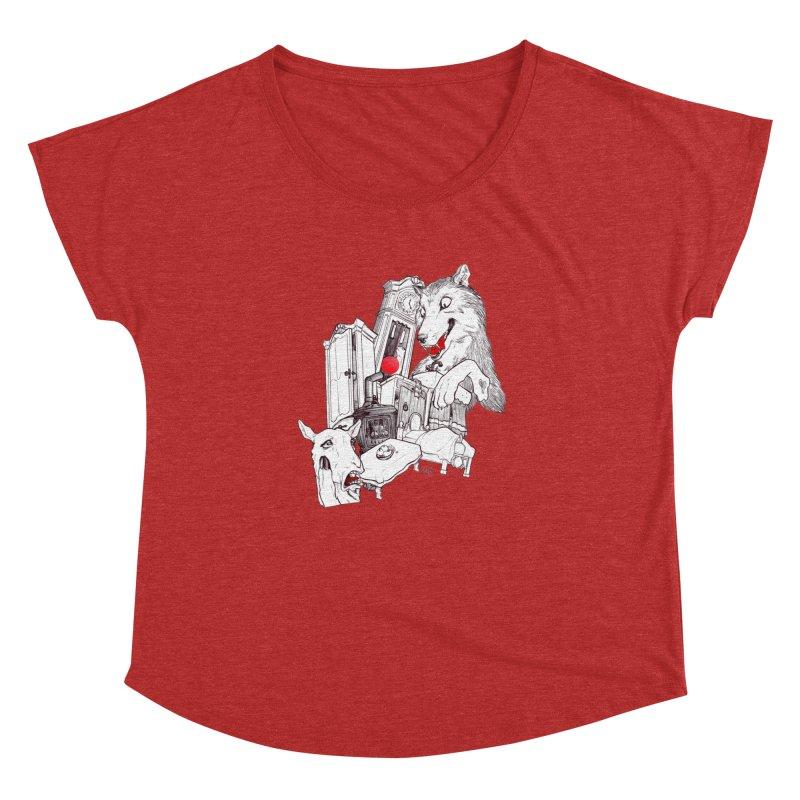 Wolf&7LittleGoats Women's Dolman Scoop Neck by roby's Artist Shop