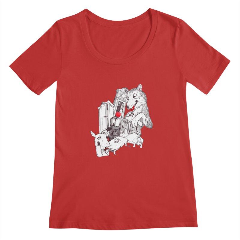 Wolf&7LittleGoats Women's Regular Scoop Neck by roby's Artist Shop