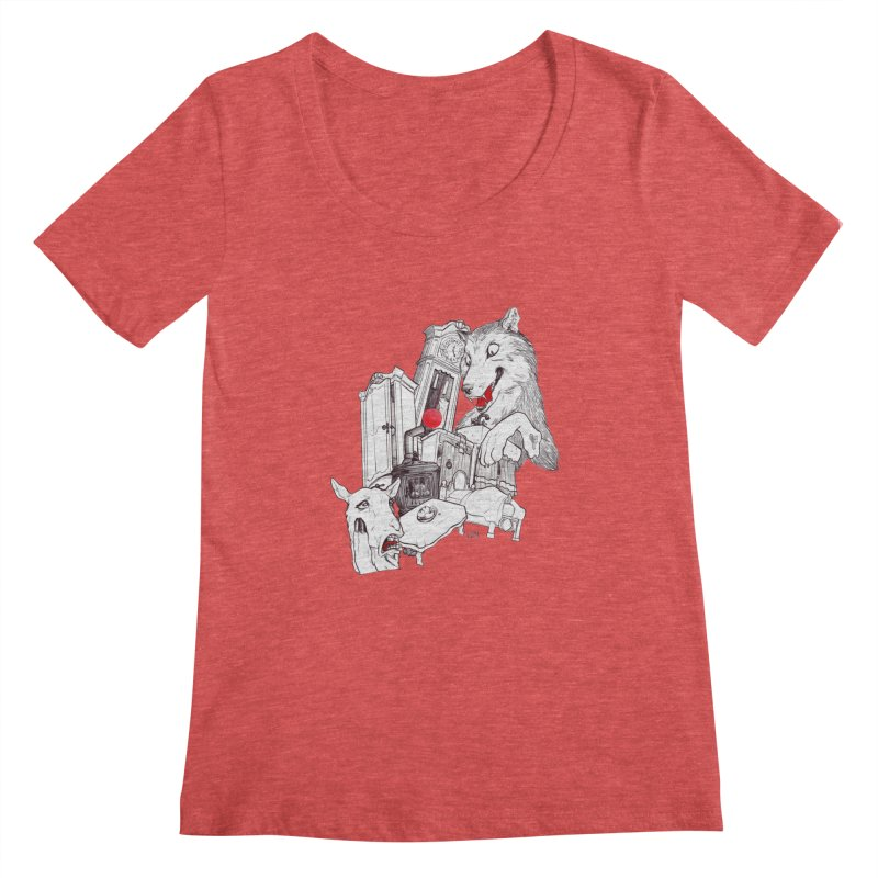 Wolf&7LittleGoats Women's Scoopneck by roby's Artist Shop