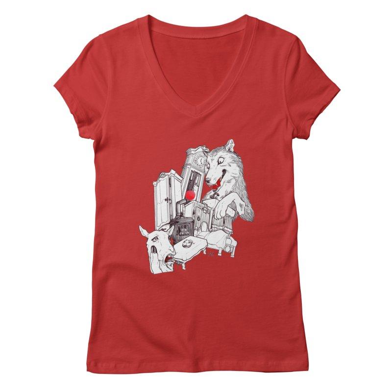 Wolf&7LittleGoats Women's Regular V-Neck by roby's Artist Shop