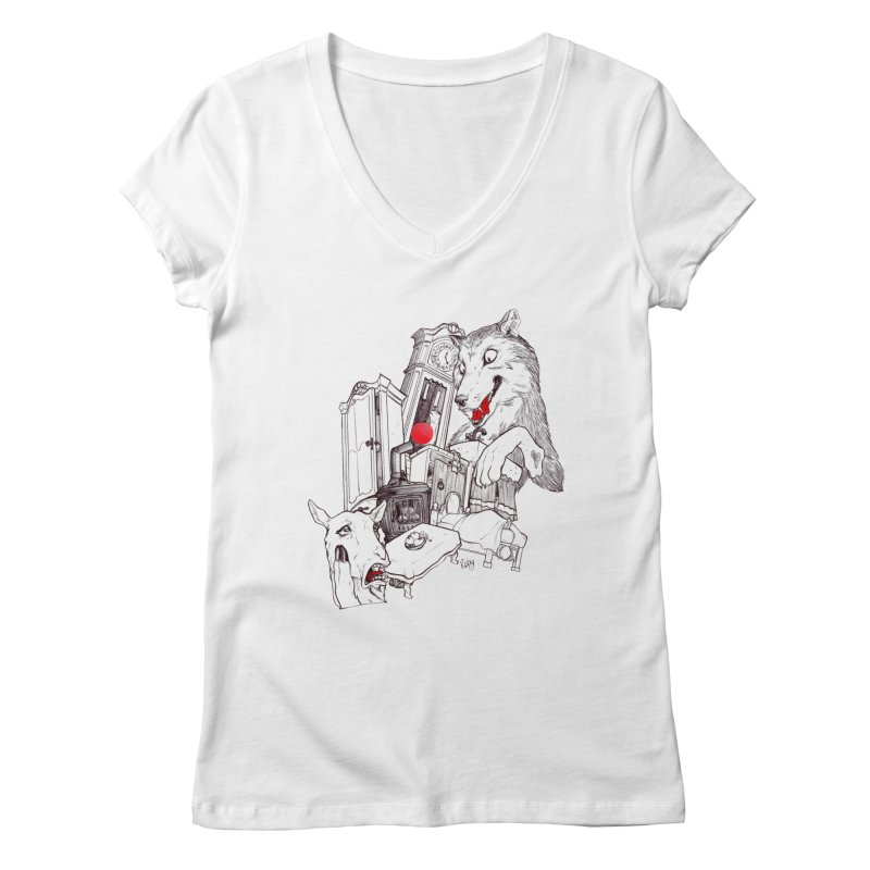 Wolf&7LittleGoats Women's Regular V-Neck by roby's Artist Shop