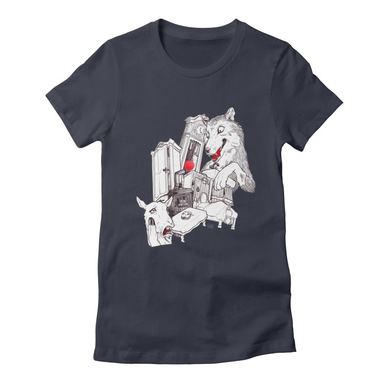 Wolf&7LittleGoats Women's Fitted T-Shirt by roby's Artist Shop