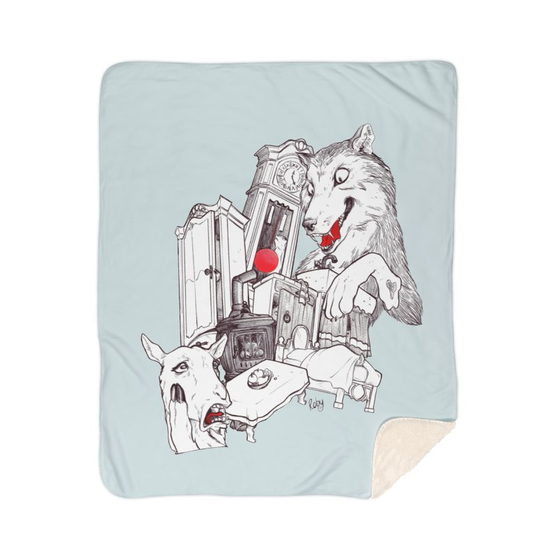 Wolf&7LittleGoats Home Sherpa Blanket Blanket by roby's Artist Shop