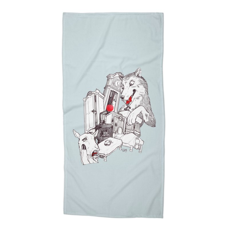 Wolf&7LittleGoats Accessories Beach Towel by roby's Artist Shop
