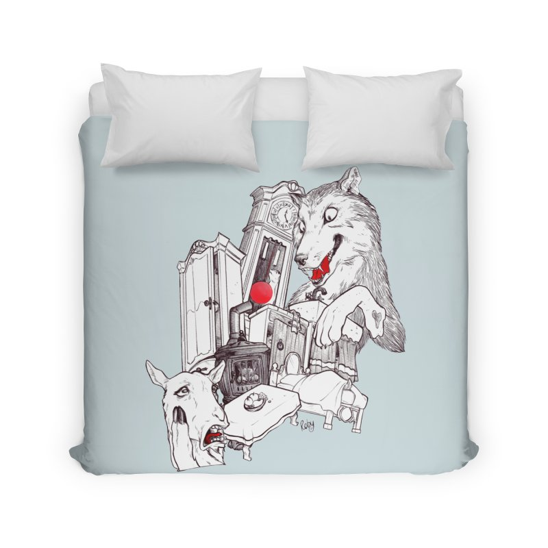 Wolf&7LittleGoats Home Duvet by roby's Artist Shop