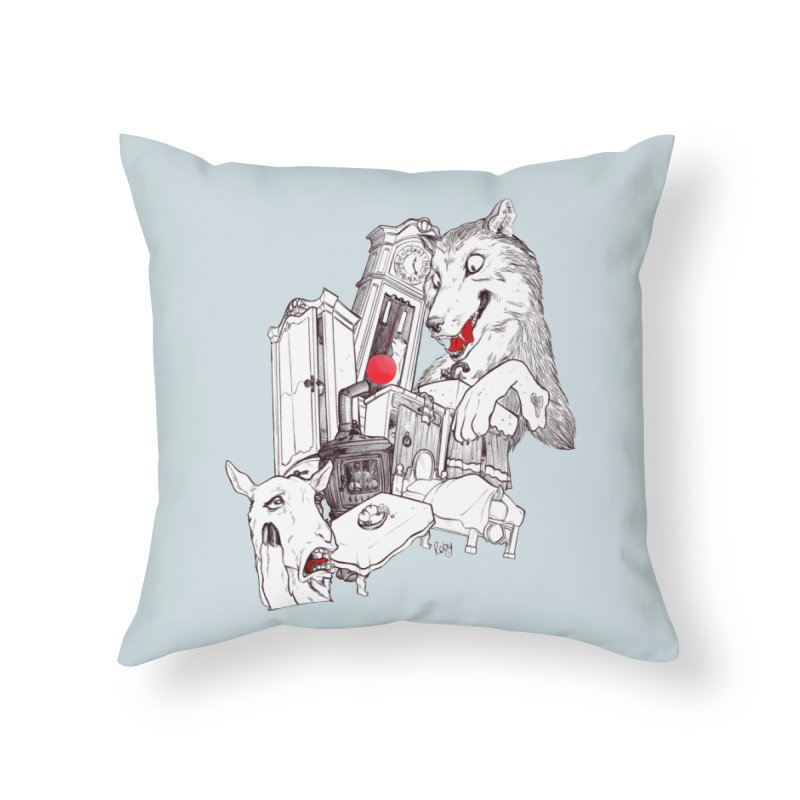 Wolf&7LittleGoats Home Throw Pillow by roby's Artist Shop