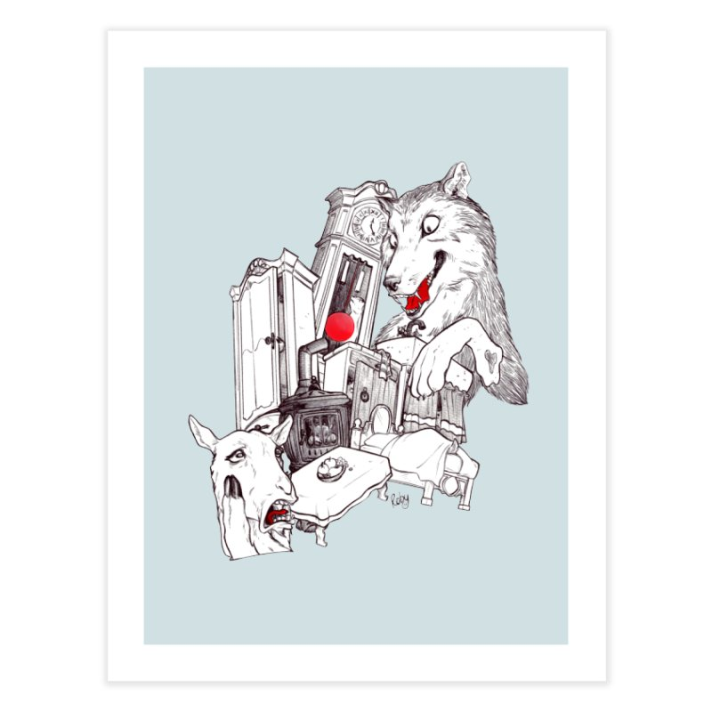 Wolf&7LittleGoats Home Fine Art Print by roby's Artist Shop