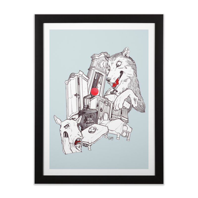 Wolf&7LittleGoats Home Framed Fine Art Print by roby's Artist Shop