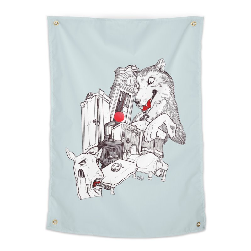 Wolf&7LittleGoats Home Tapestry by roby's Artist Shop