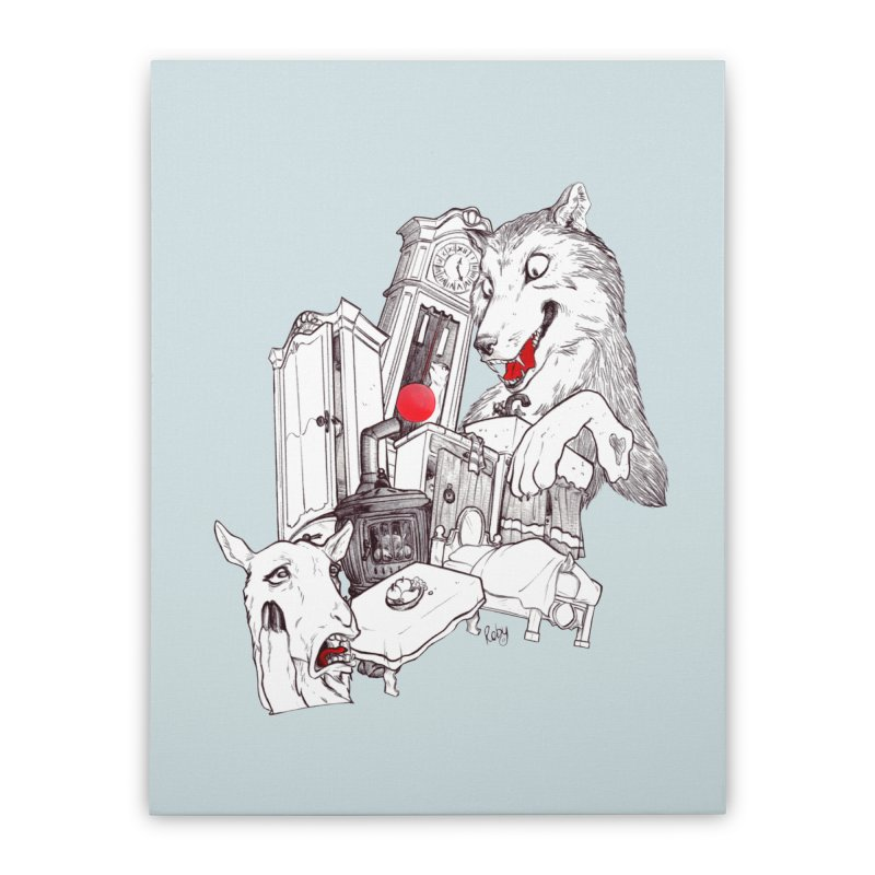 Wolf&7LittleGoats Home Stretched Canvas by roby's Artist Shop