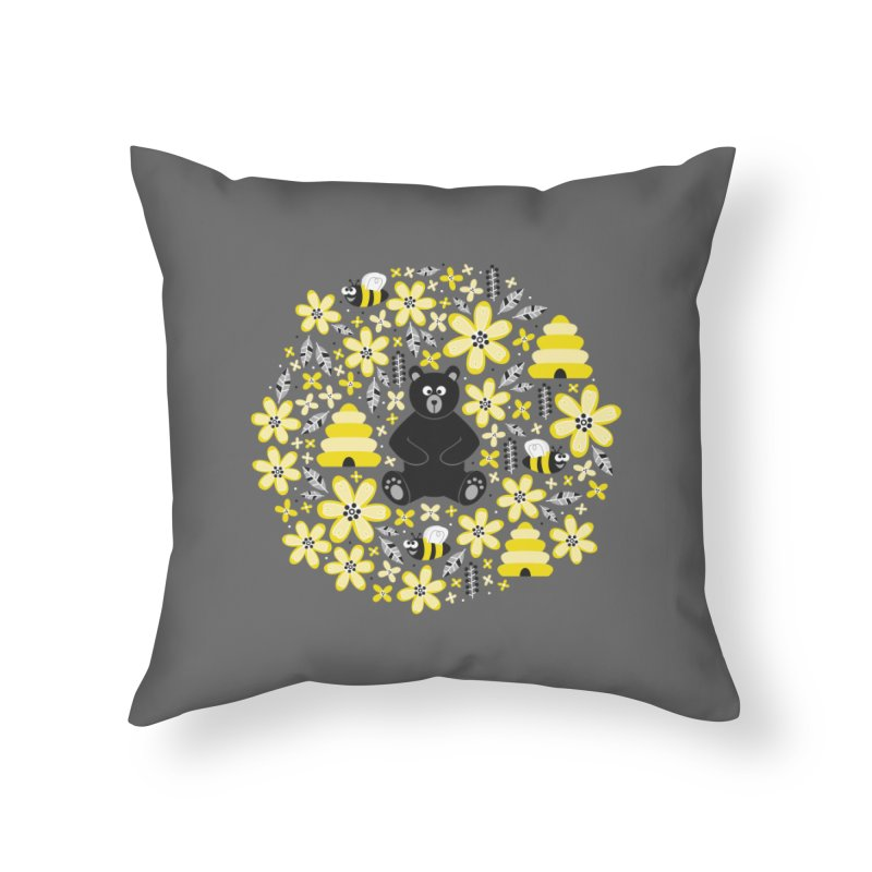 Bears and Bees Home Throw Pillow by Robyriker Designs - Elishka Jepson