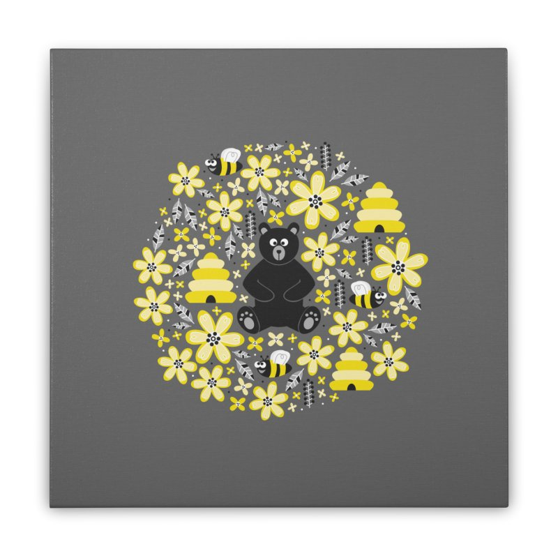 Bears and Bees Home Stretched Canvas by Robyriker Designs - Elishka Jepson