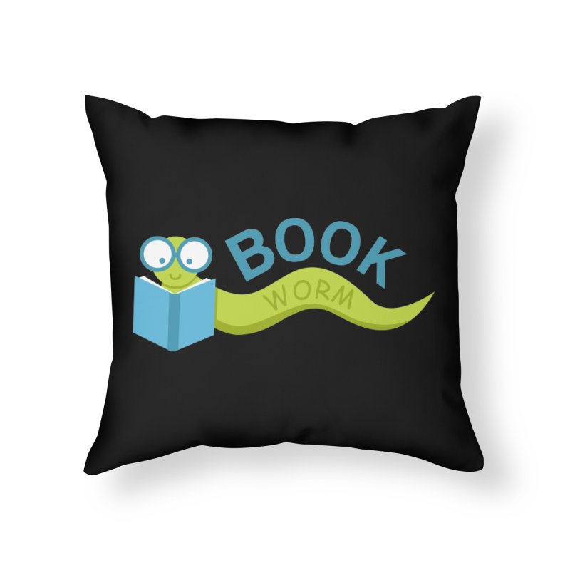 Book Worm Home Throw Pillow by Robyriker Designs - Elishka Jepson